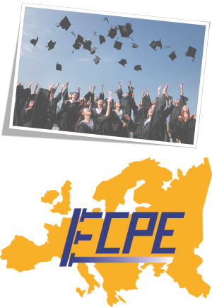 Students at graduation and logo of the European Center for Power Electronics
